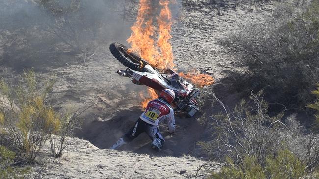 Alla Dakar 2012 andò a fuoco quella di Paolo Ceci