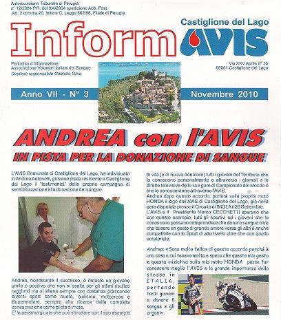 Andrea Antonelli con l'AVIS