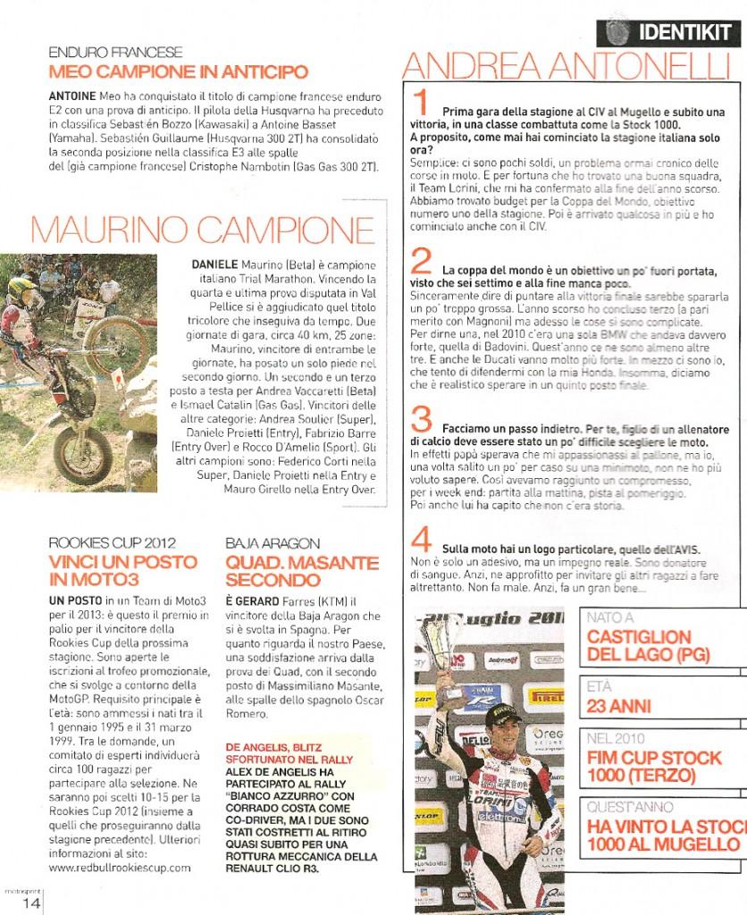 Intervista ad Andrea Antonelli su Motosprint di Agosto